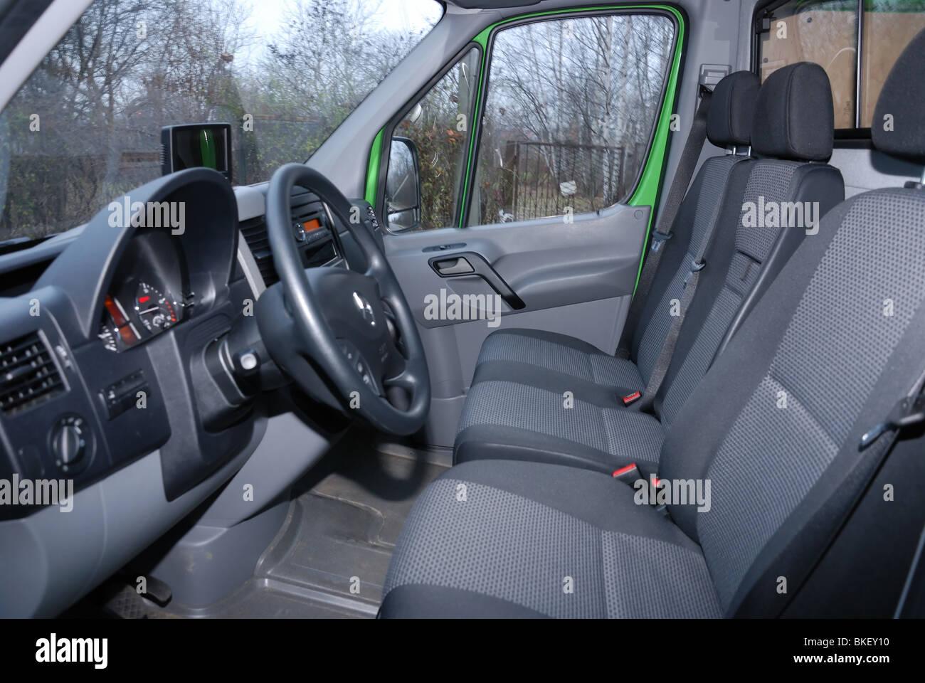 Mercedes benz sprinter 260 cdi van green l3h2 german mcv van interior cabin dashboard steering wheel