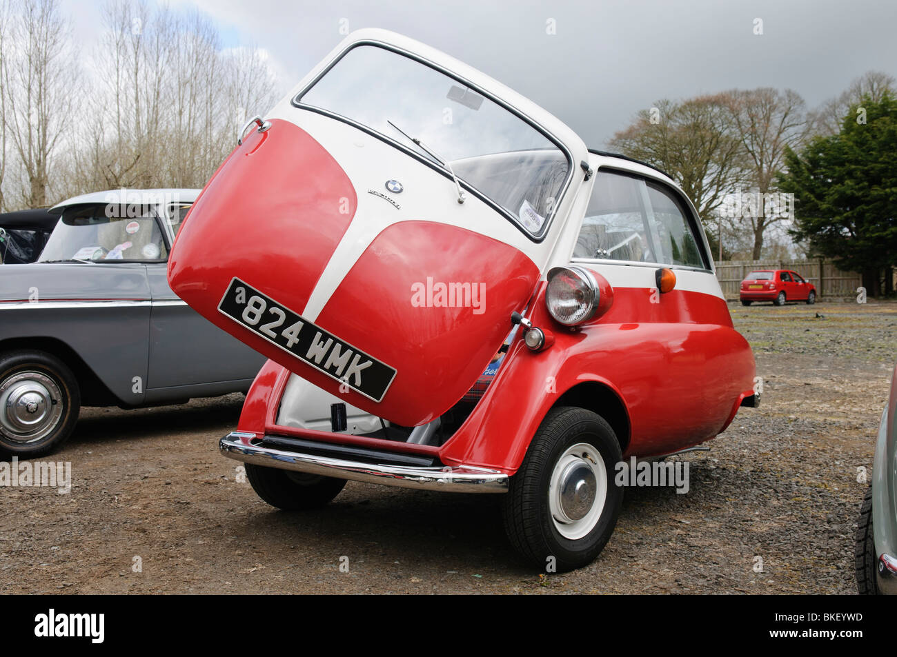BMW Isetta bubble car with the front door open Stock Photo