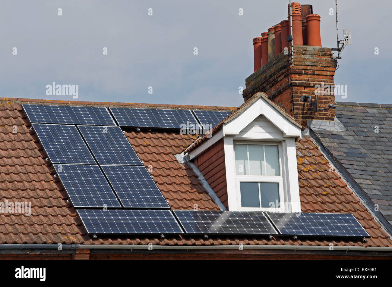 Solar Panels Fitted To The Roof Of A Uk Residential