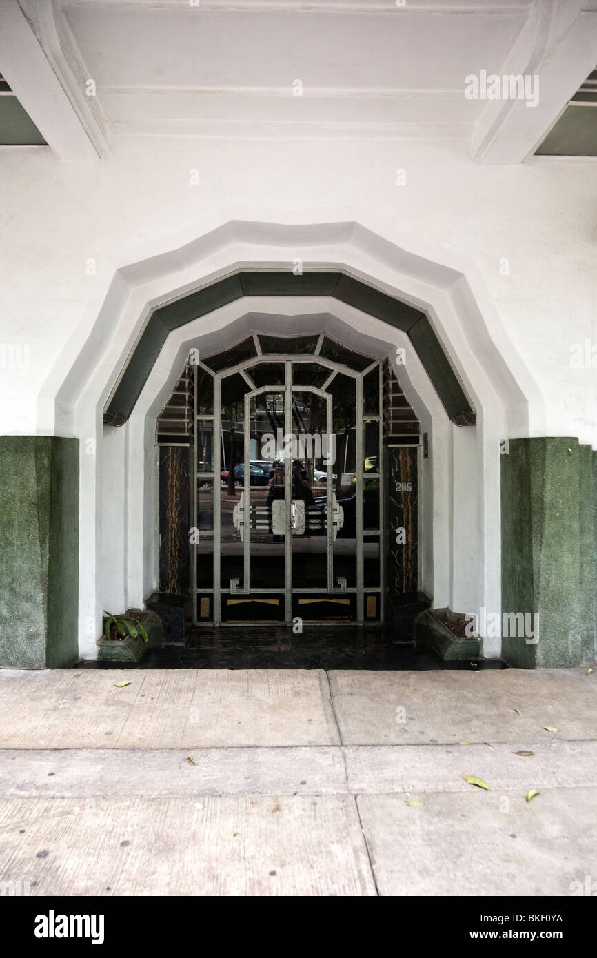 City Apartment Building Entrance beautifully designed metal entrance doors in shell like recess art