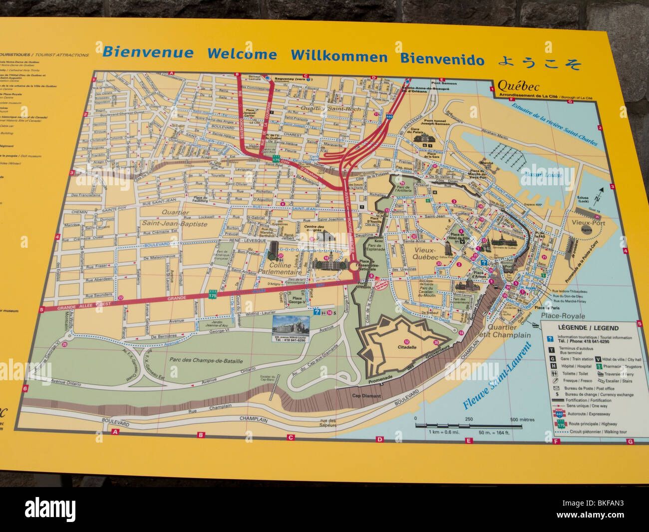A Street Map Of Quebec City Canada Stock Photo Royalty Free Image - Map of quebec canada