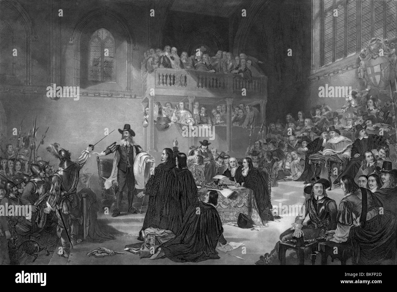 Vintage print circa 1850 depicting the trial of King ...