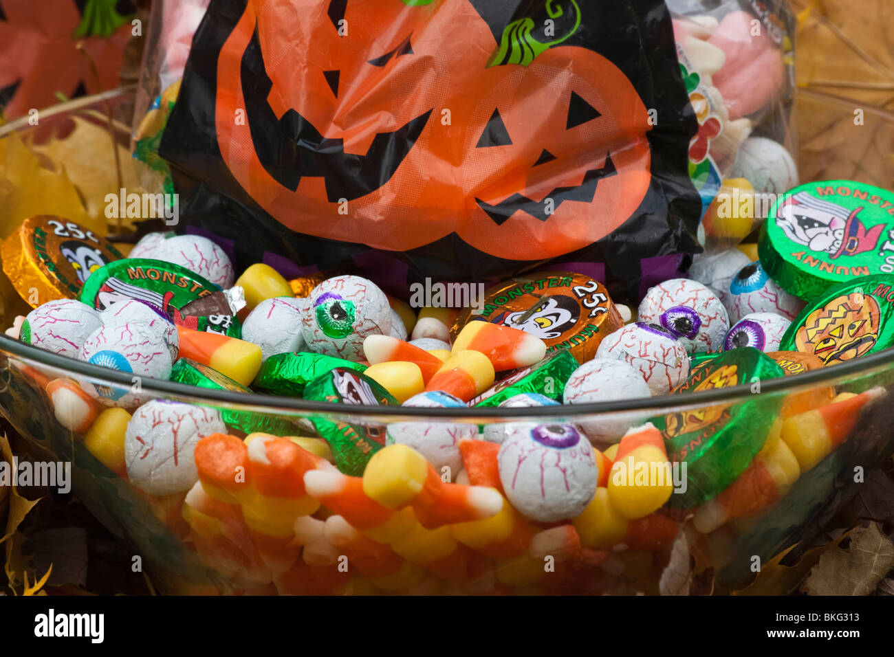 close up of decoration halloween bags with candies halloween in usa trick or treat