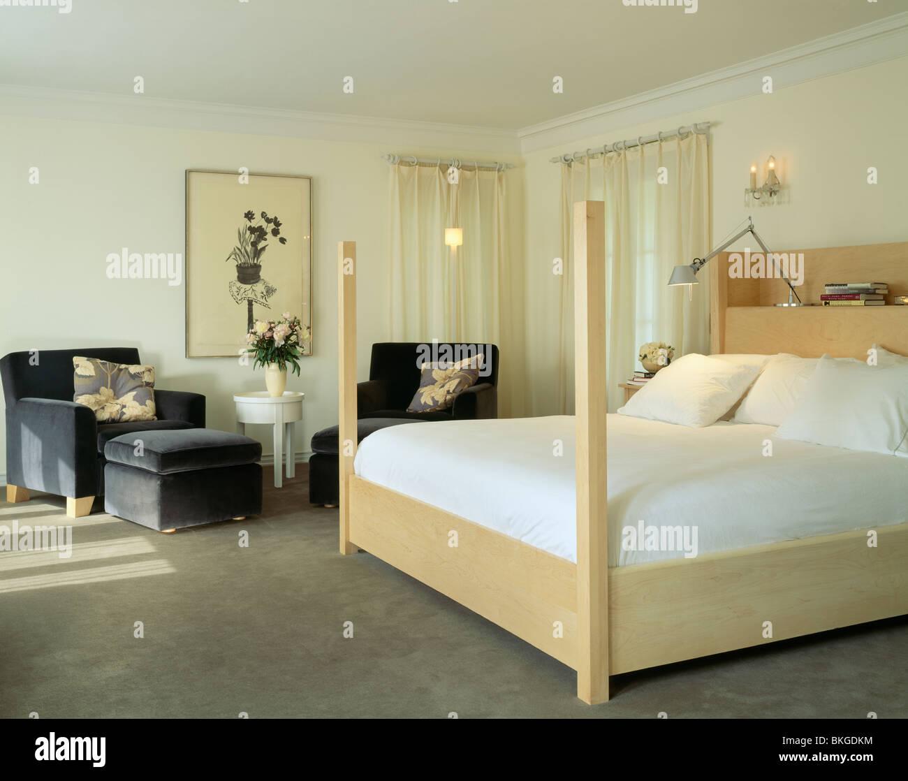 Pale Bedroom White Linen On Pale Wood Bed In Modern Bedroom With Gray Carpet