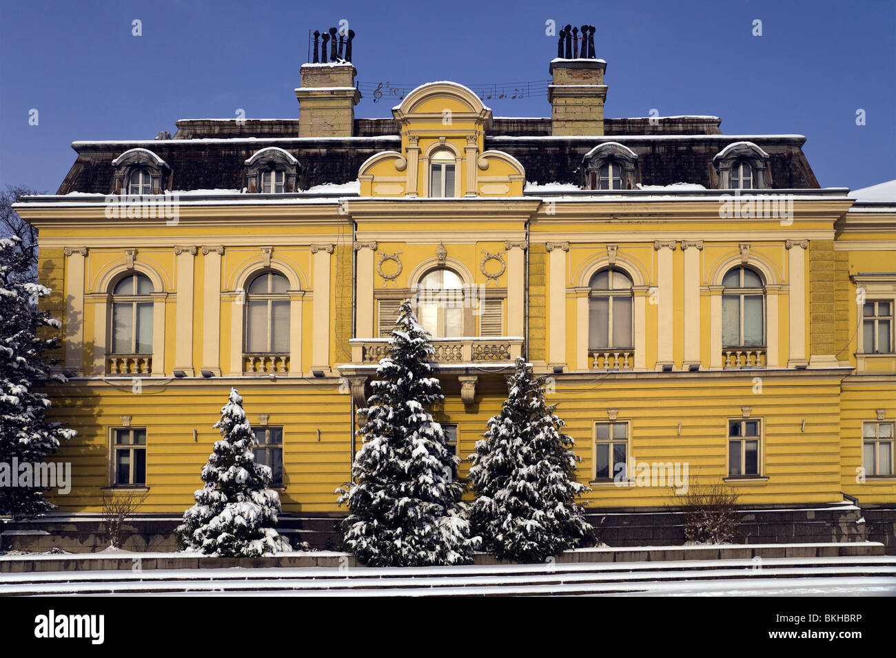art gallery and royal palace in sofia bulgaria in snow in winter stock photo royalty free. Black Bedroom Furniture Sets. Home Design Ideas
