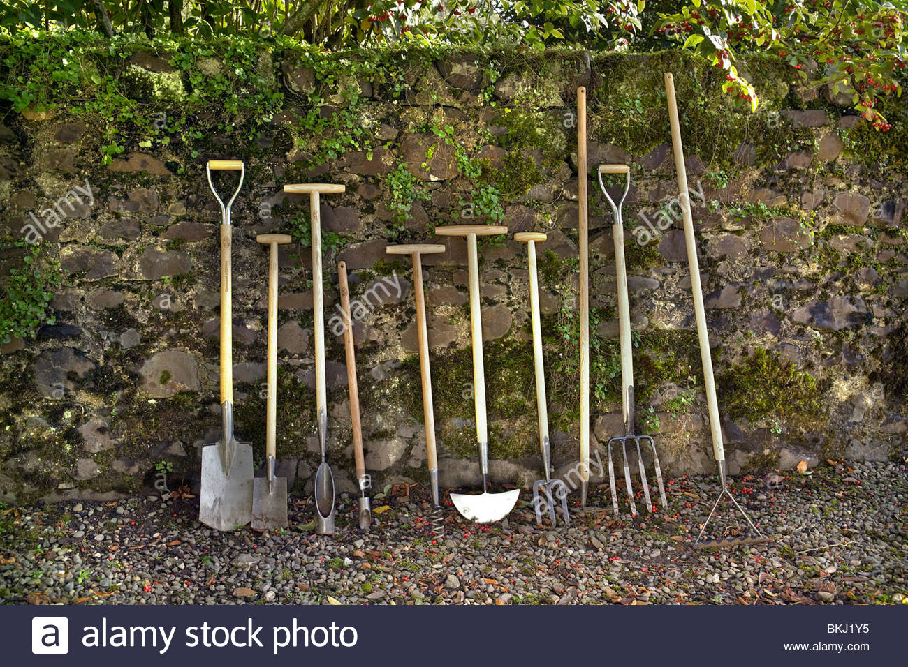 Line Up Of De Wit Garden Tools Against A Stone Wall Stock Photo