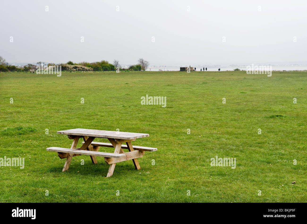 An Empty Picnic Table In A Field At East Mersea In Essex