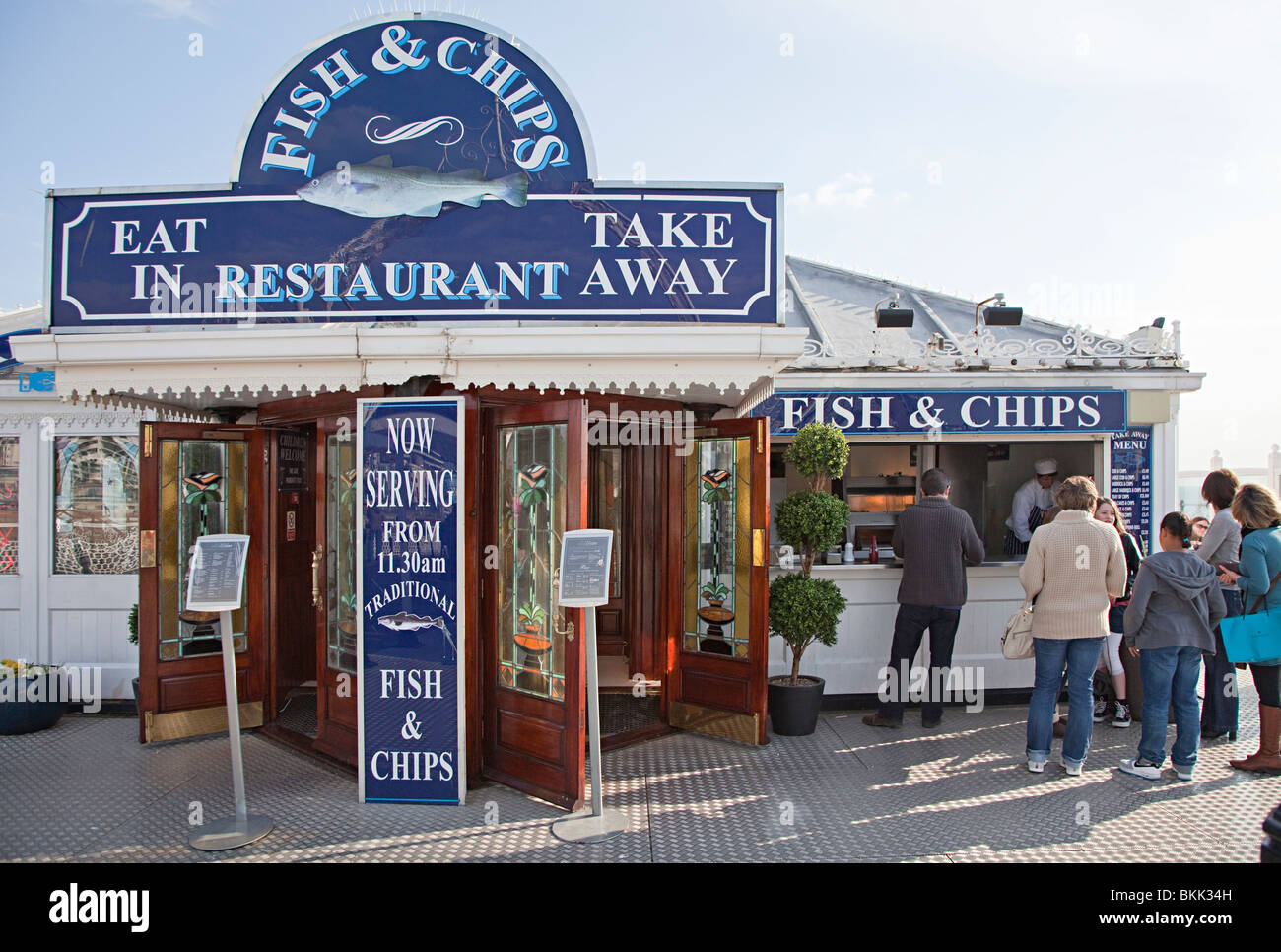 Fish and chip restaurant on brighton pier england uk stock for Fish chips restaurant