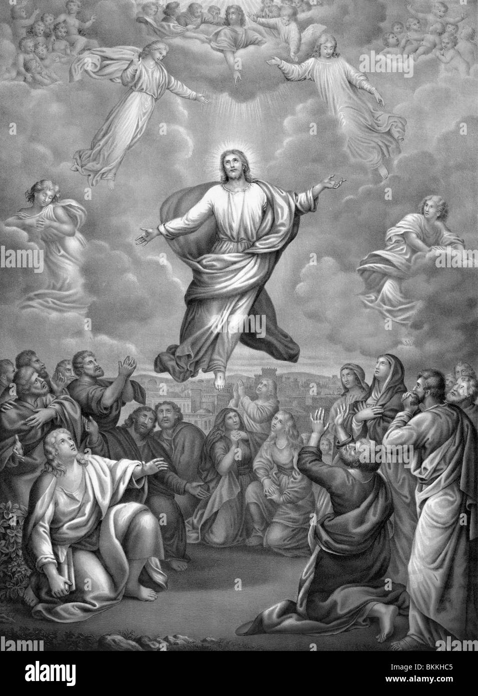 vintage lithograph print circa 1884 depicting the ascension of