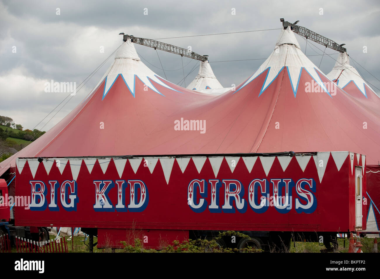 The Big Kid travelling circus red coloured big top tent visiting Aberystwyth Wales UK & The Big Kid travelling circus red coloured big top tent visiting ...