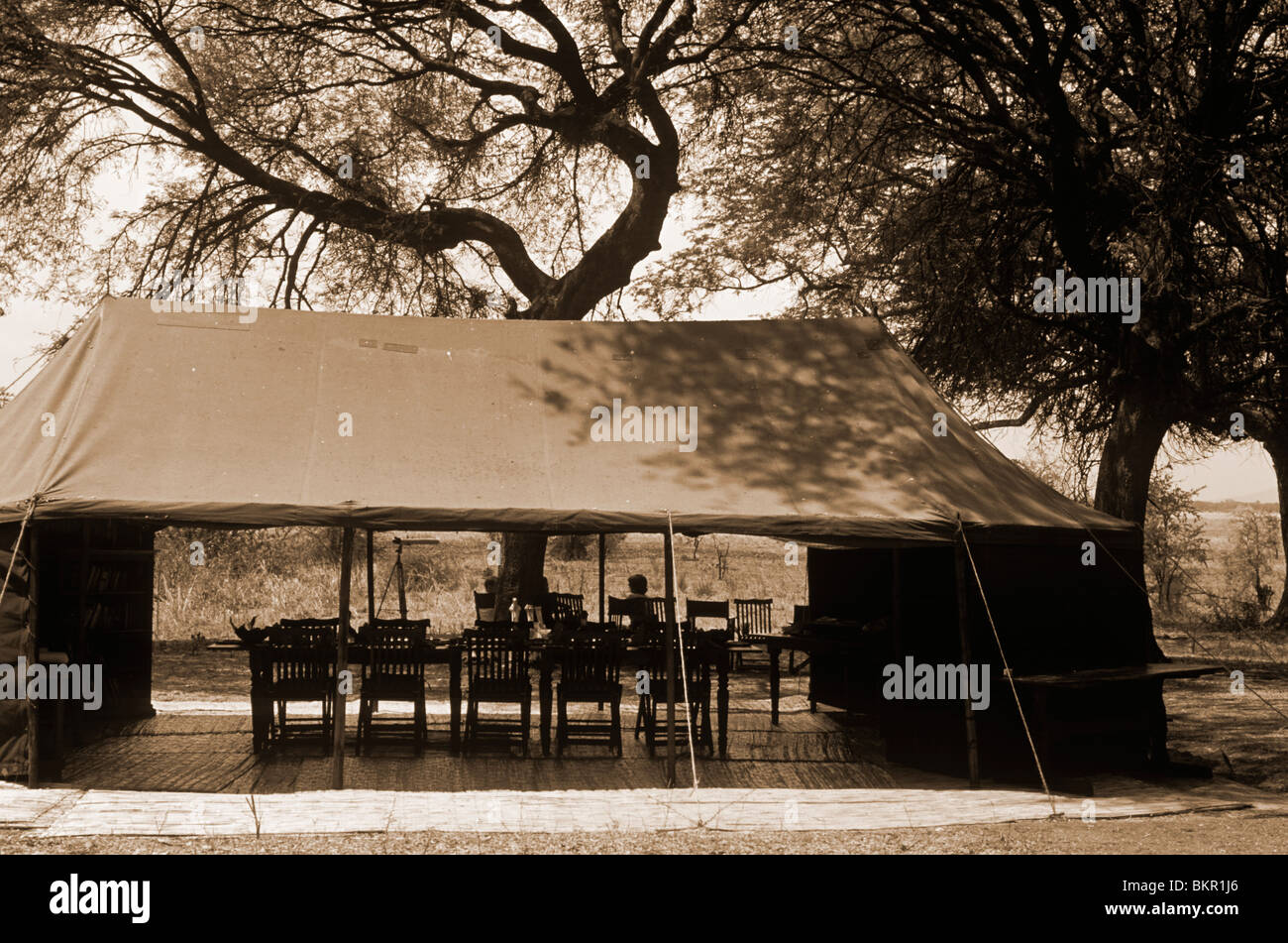 Tanzania Katavi National Park. Mess tent set up for lunch at Chada C& & Tanzania Katavi National Park. Mess tent set up for lunch at ...