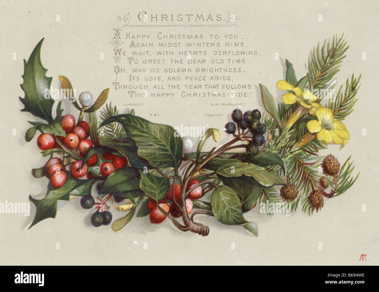 Wreath from old christmas cards - Stock Photo Victorian Christmas Card