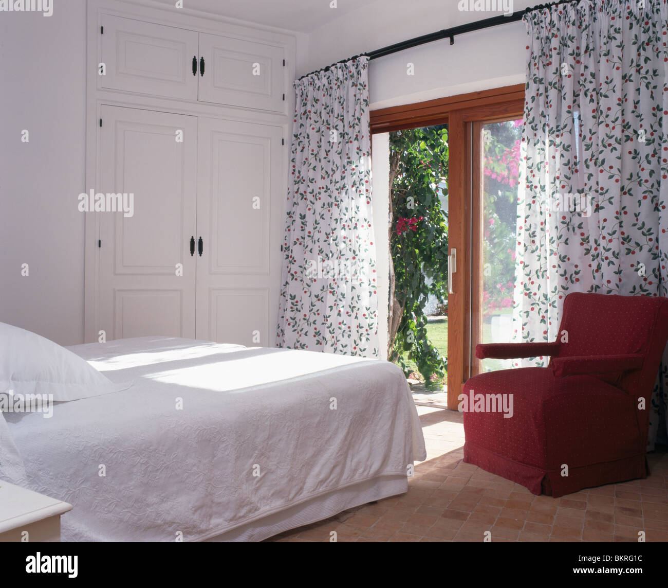 Black White Floral Curtains At French Windows In White
