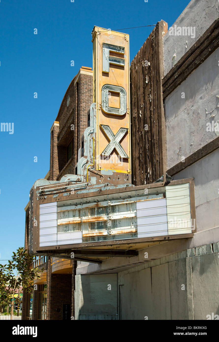 marquee and sign of abandoned fox theater in paso robles