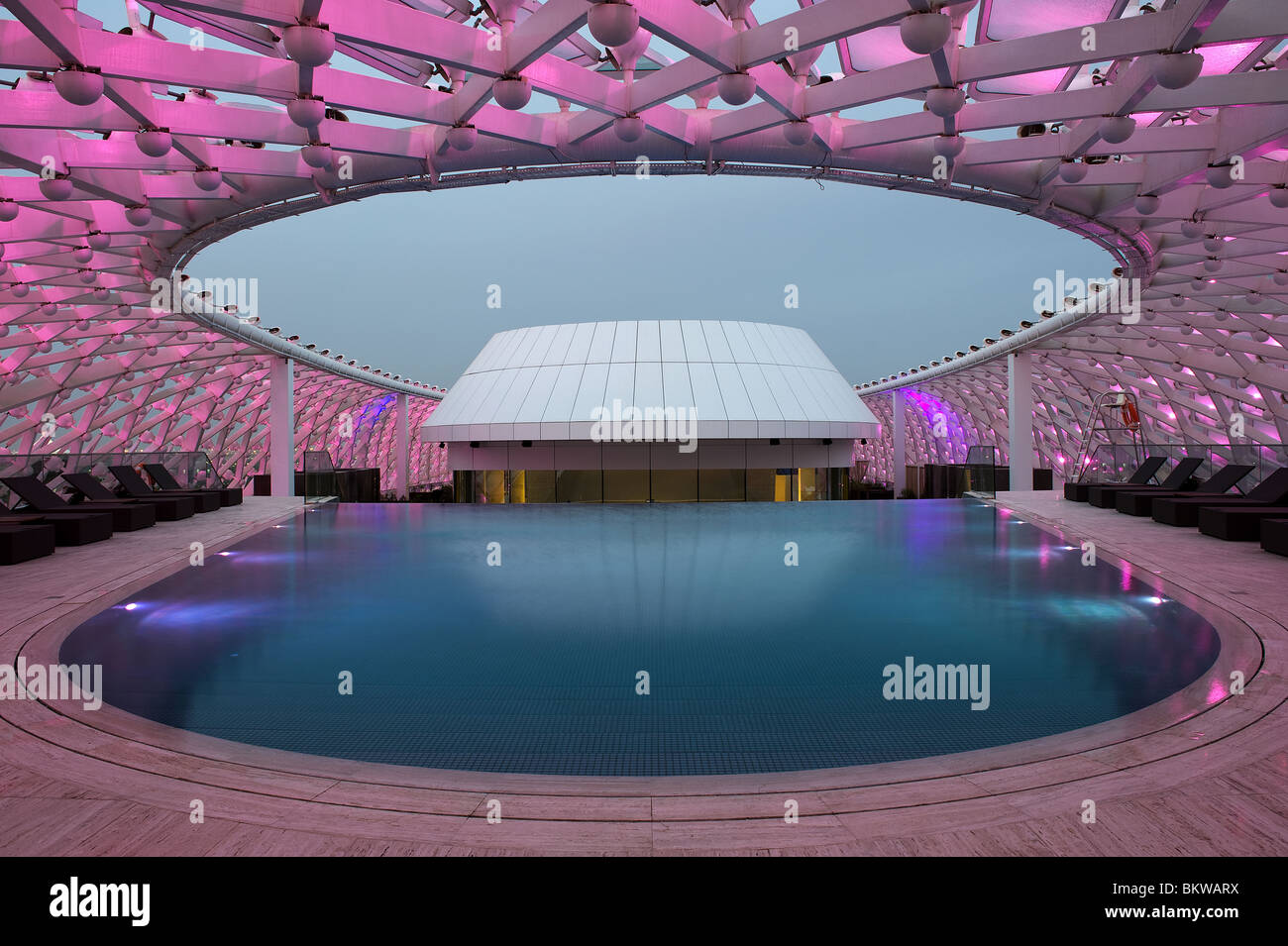 Swimming pool at yas marina hotel abu dhabi stock photo - Hotels in abu dhabi with swimming pool ...
