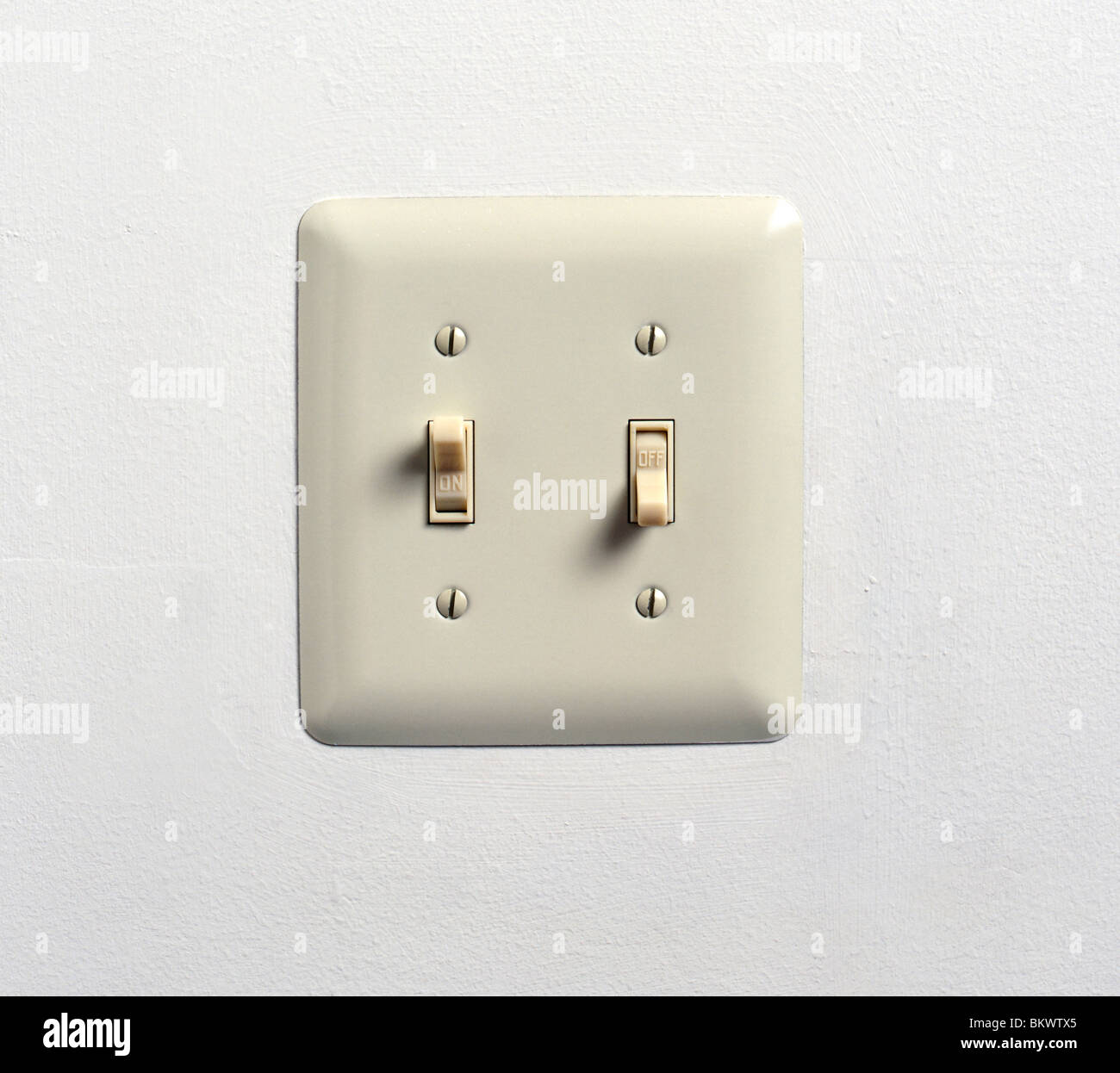 Double Light Switch Cover Magnificent Close Up Of An Off White Electric Double Light Switch And Cover Decorating Design
