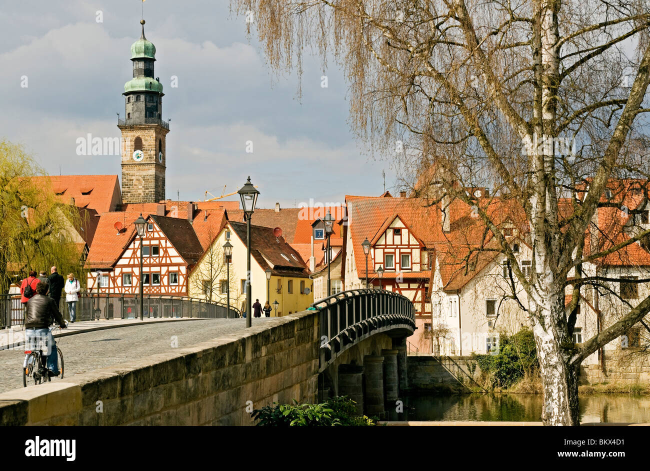 lauf an der pegnitz and the st johannis church franconia bavaria stock photo royalty free. Black Bedroom Furniture Sets. Home Design Ideas