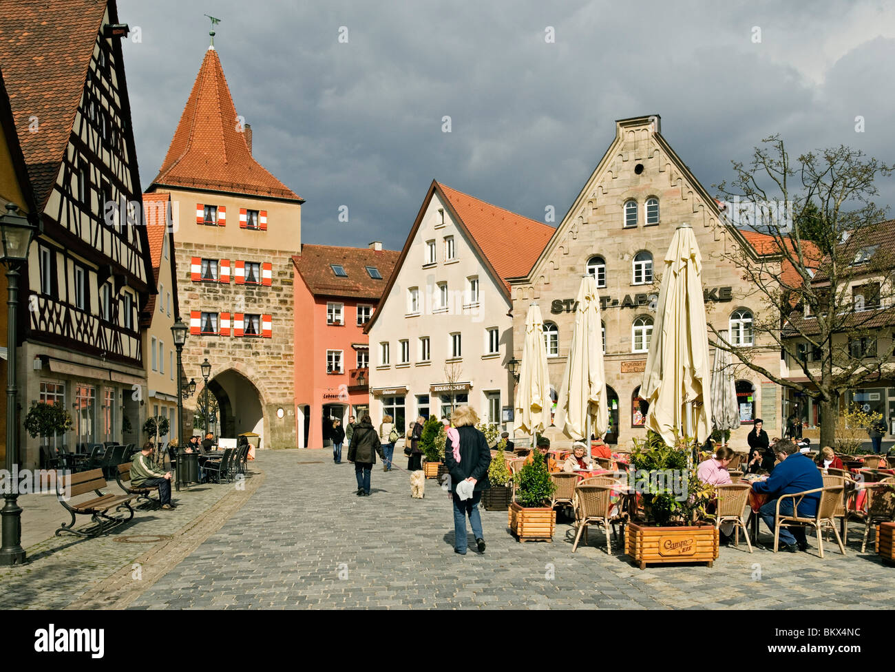 marktplatz in the town of lauf an der pegnitz near nuremberg stock photo royalty free image. Black Bedroom Furniture Sets. Home Design Ideas