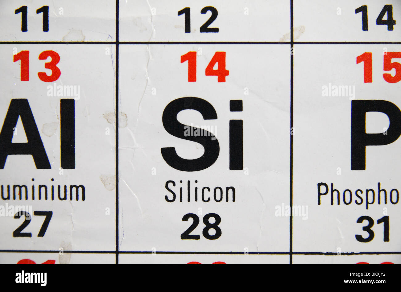 Close up view of a standard uk high school periodic table focusing close up view of a standard uk high school periodic table focusing on silicon gamestrikefo Choice Image
