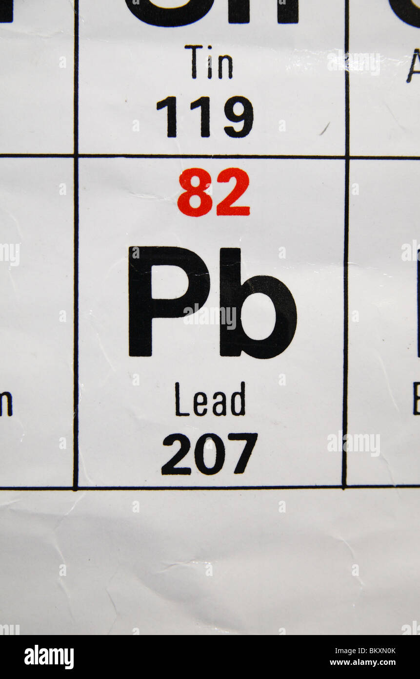 Close up view of a standard uk high school periodic table focusing close up view of a standard uk high school periodic table focusing on lead pb gamestrikefo Choice Image