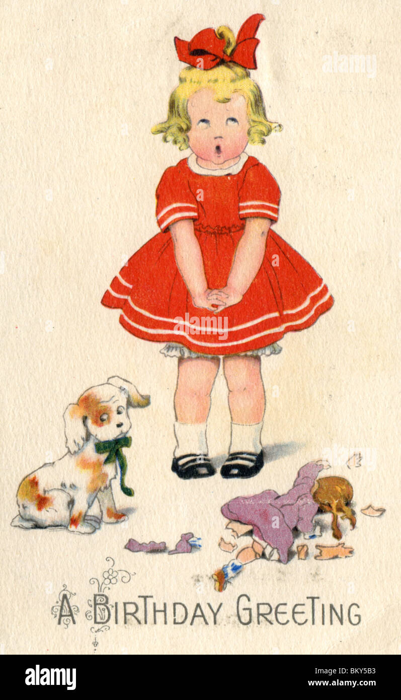 Birthday card c1925 girl in red dress with her dog and broken birthday card c1925 girl in red dress with her dog and broken doll kristyandbryce Choice Image