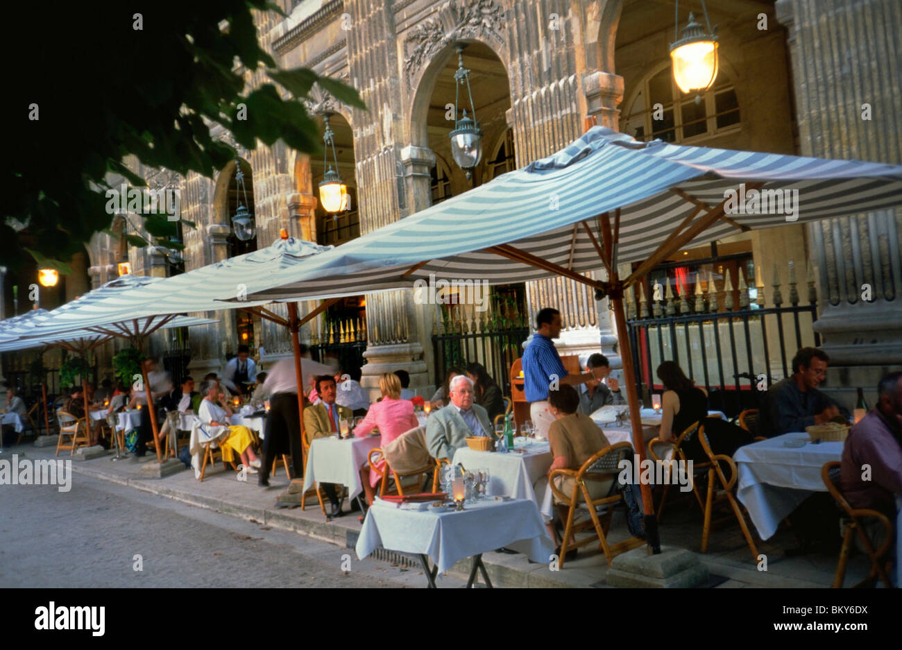 Paris France Crowd Eating At Tables French Cafe Bistro