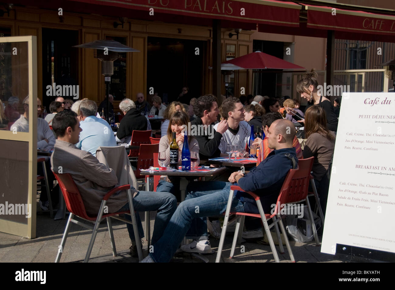Crowded restaurant table - Nice France French Cafe French Bistro Restaurant Sidewalk Crowded Terrace Cafe