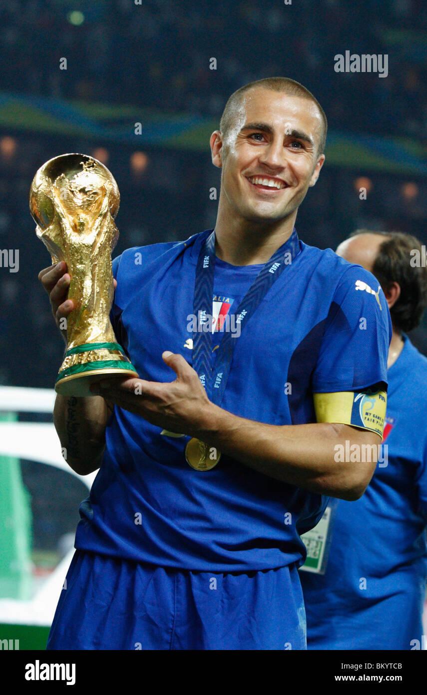 Italy team captain Fabio Cannavaro holds the World Cup trophy