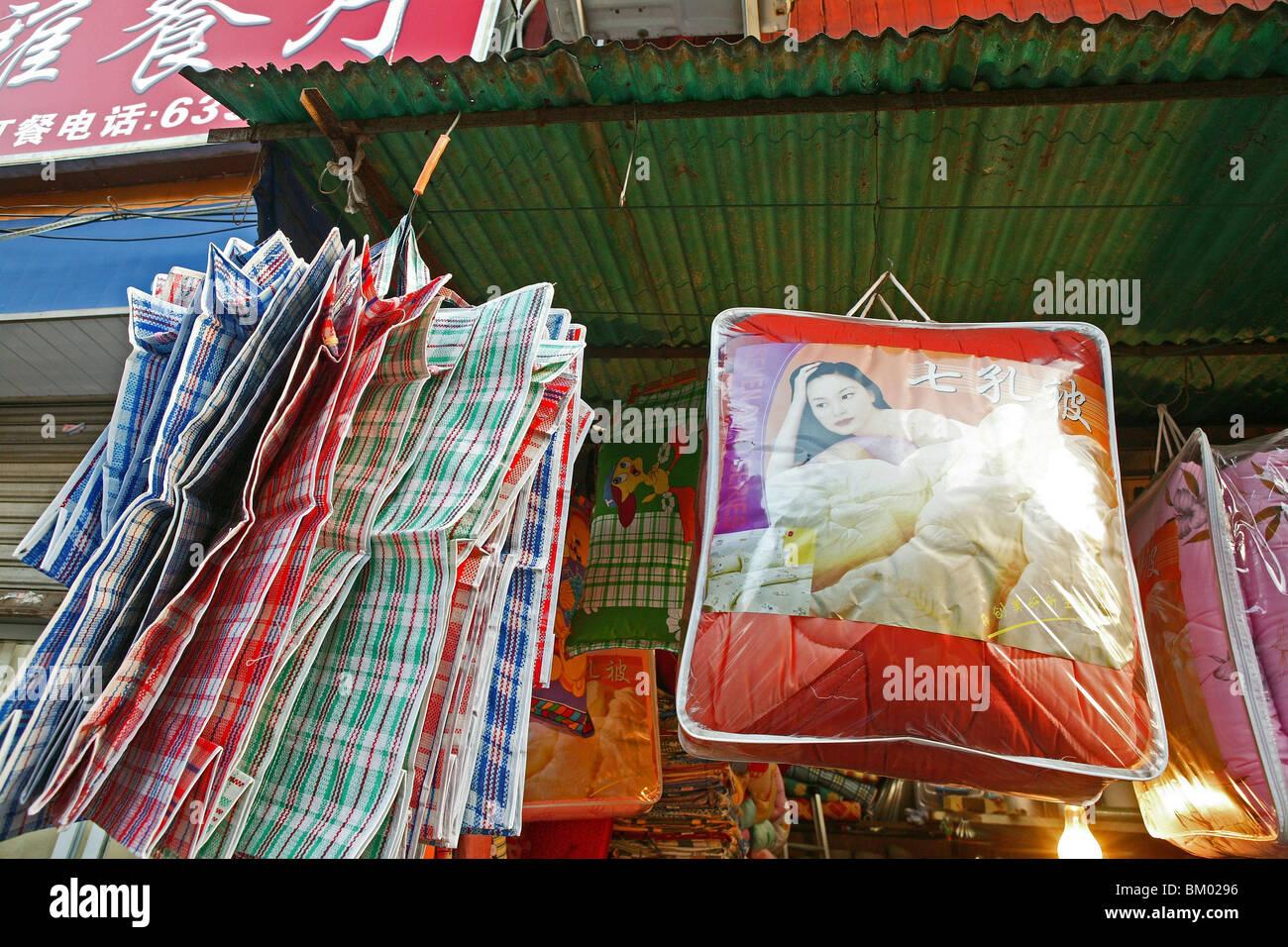 Stock Photo   Clothes Market Huaihai, Plastic Bag, Carry Bag, Open Door  Cloth Market