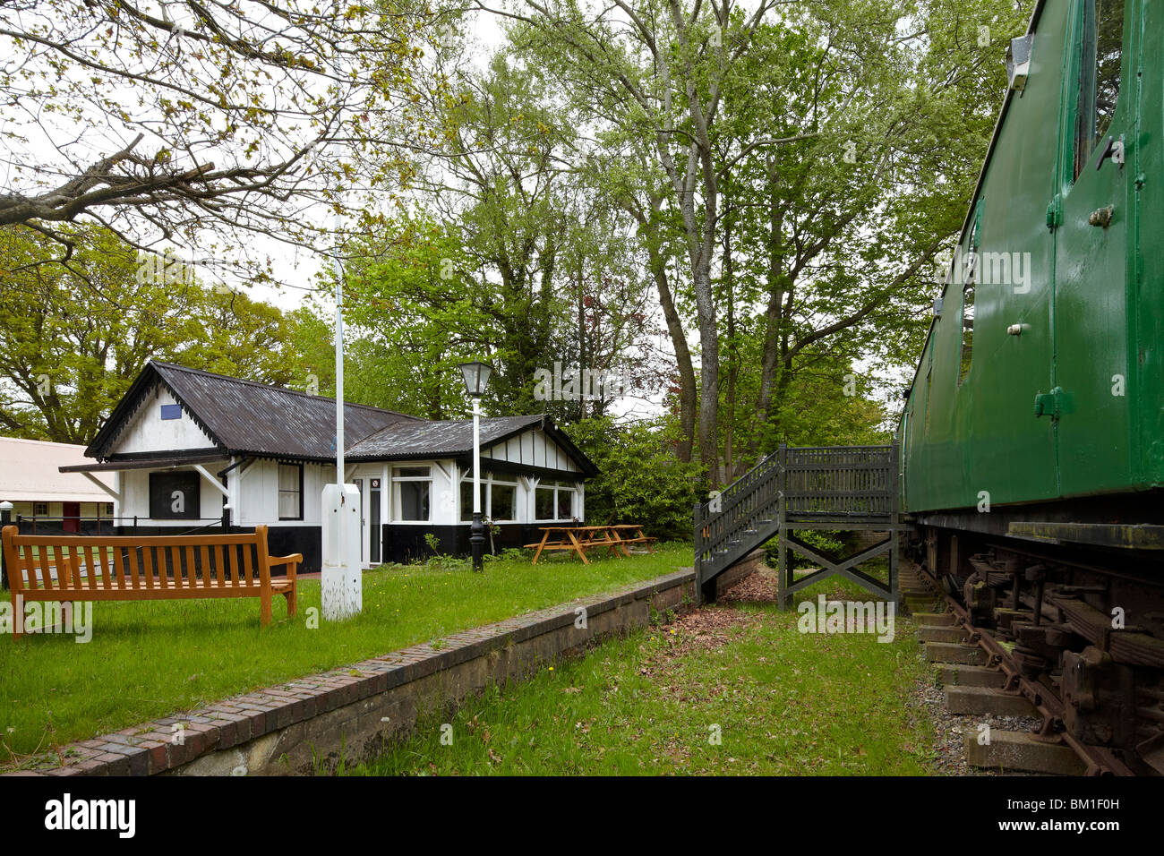 The old railway station bisley camp surrey stock photo for Railroad stations for sale