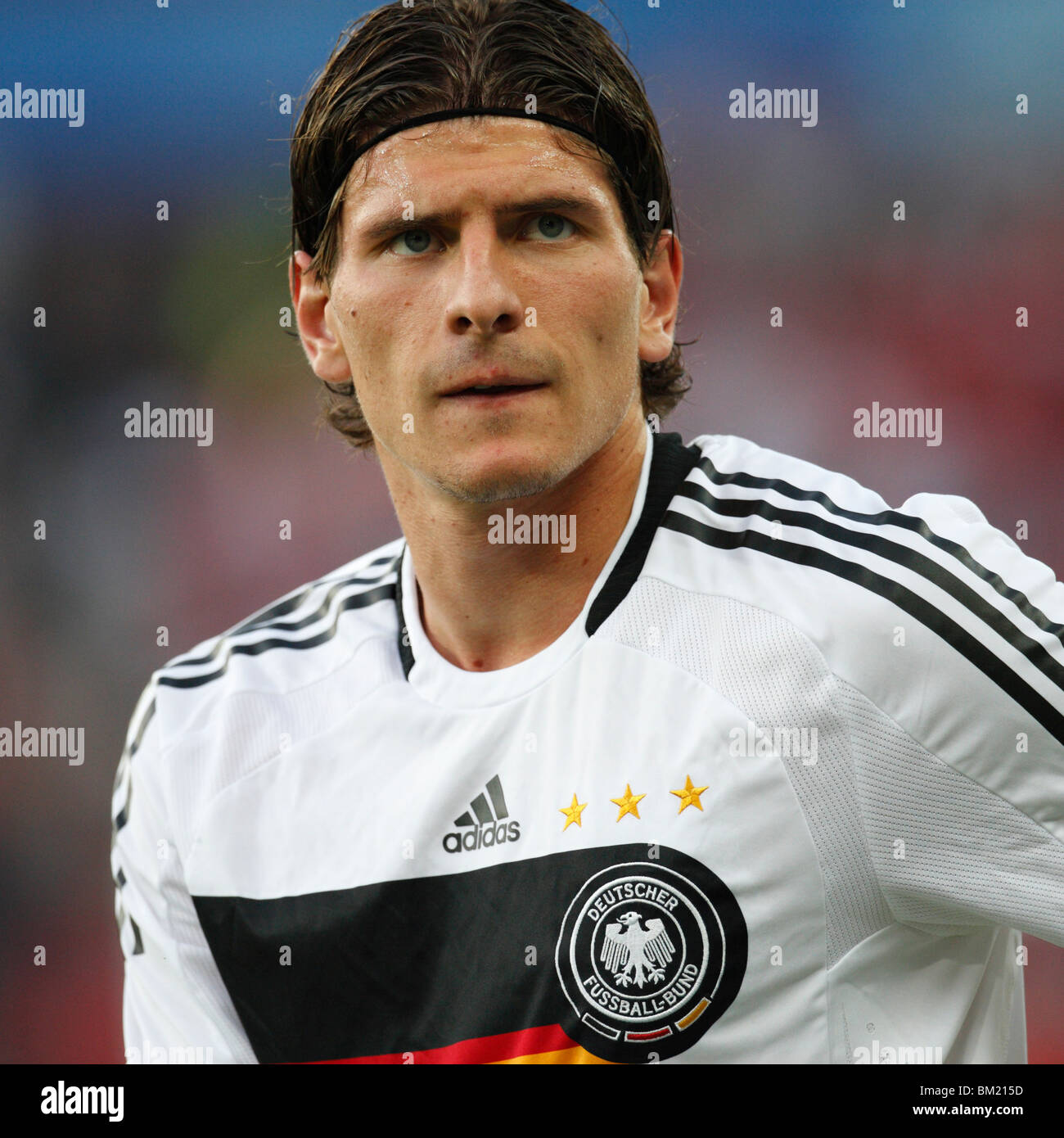 Mario Gomez of Germany seen during team warm ups prior to a UEFA