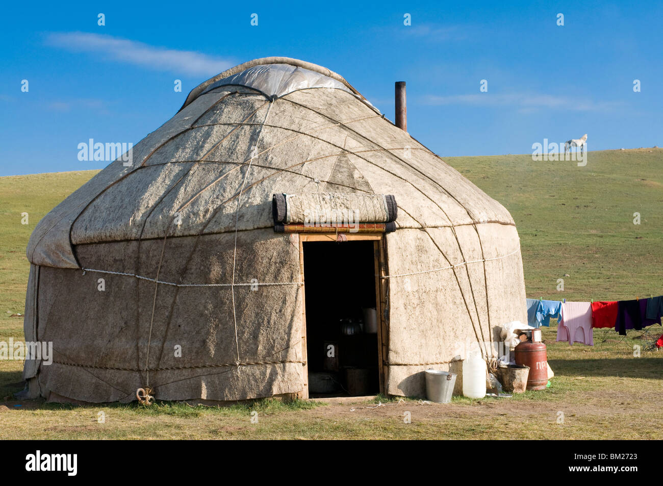 Yurts tents of Nomads at Song Kol Kyrgyzstan Central Asia & Yurts tents of Nomads at Song Kol Kyrgyzstan Central Asia Stock ...