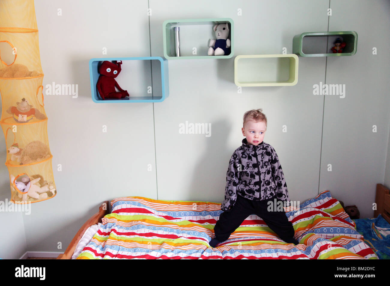 Baby bed for two year old - A Two Year Old Baby Boy Child Toddler Stand Stands Standing Bed Fleece Model Cool Attitude Released