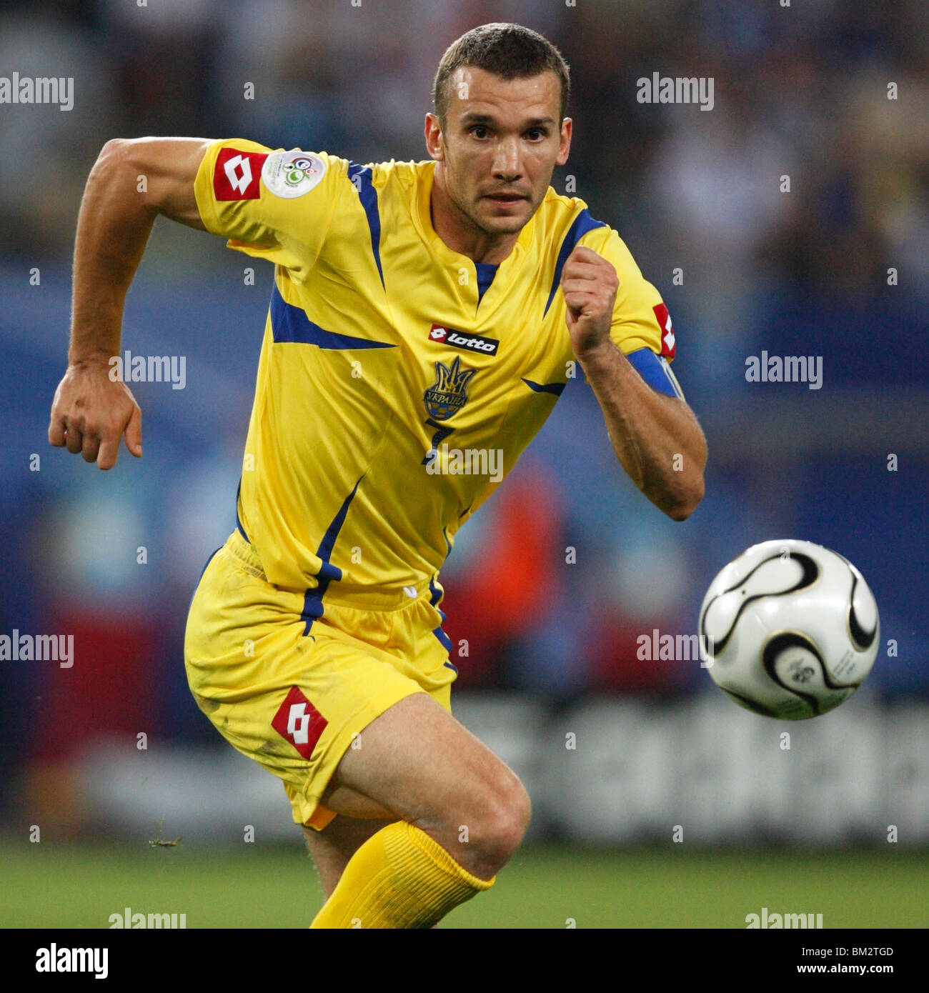Andriy Shevchenko of Ukraine chases the ball during a FIFA World
