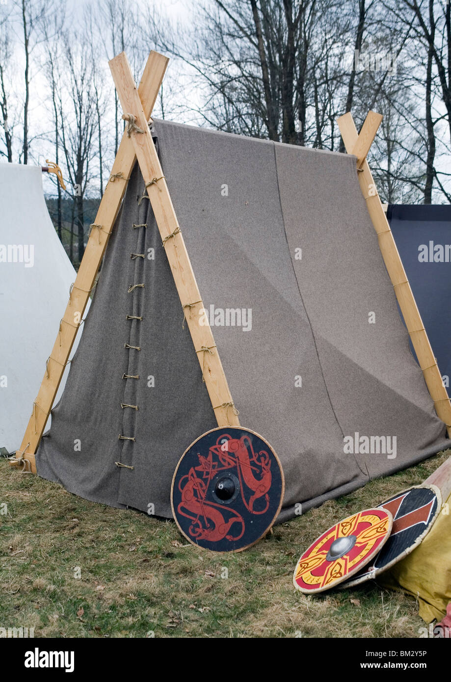 Viking tents and war shields. Ale Viking Village West Sweden & Viking tents and war shields. Ale Viking Village West Sweden Stock ...