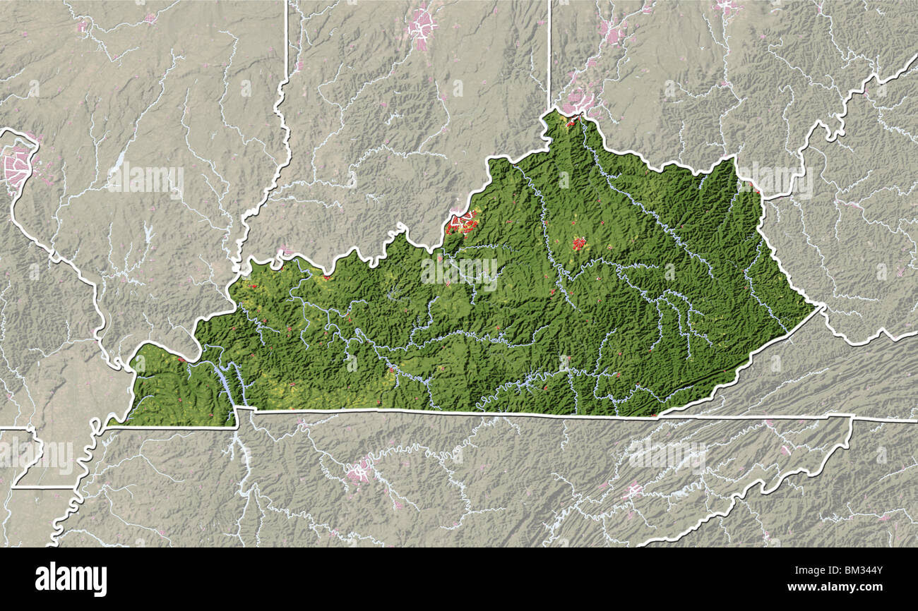 Kentucky Shaded Relief Map Stock Photo Royalty Free Image - Physical map of kentucky