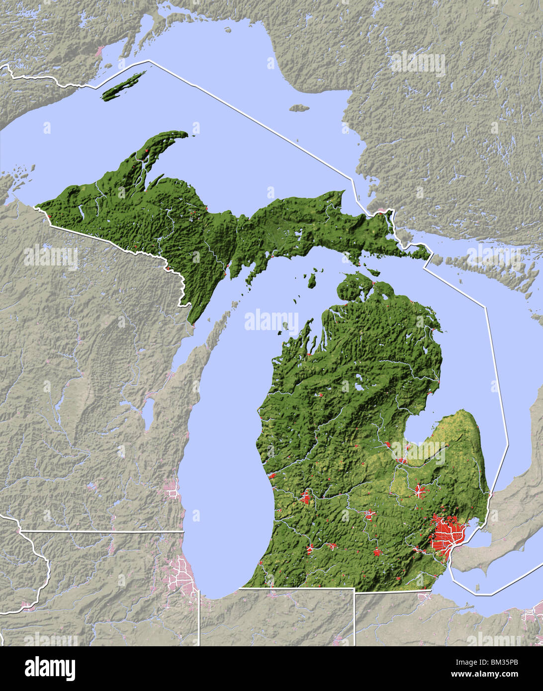 Michigan Shaded Relief Map Stock Photo Royalty Free Image - Physical map of michigan