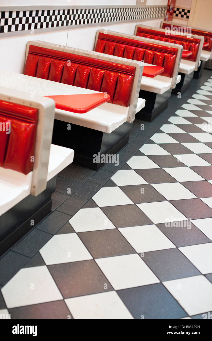 1950 S Style Restaurant With Checkered Floor And Rock N