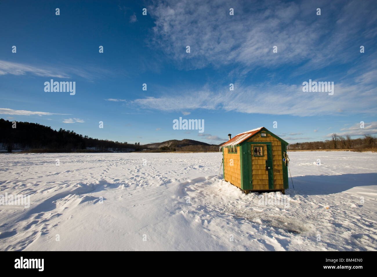 Ice Fishing Shack On The West River In Brattleboro