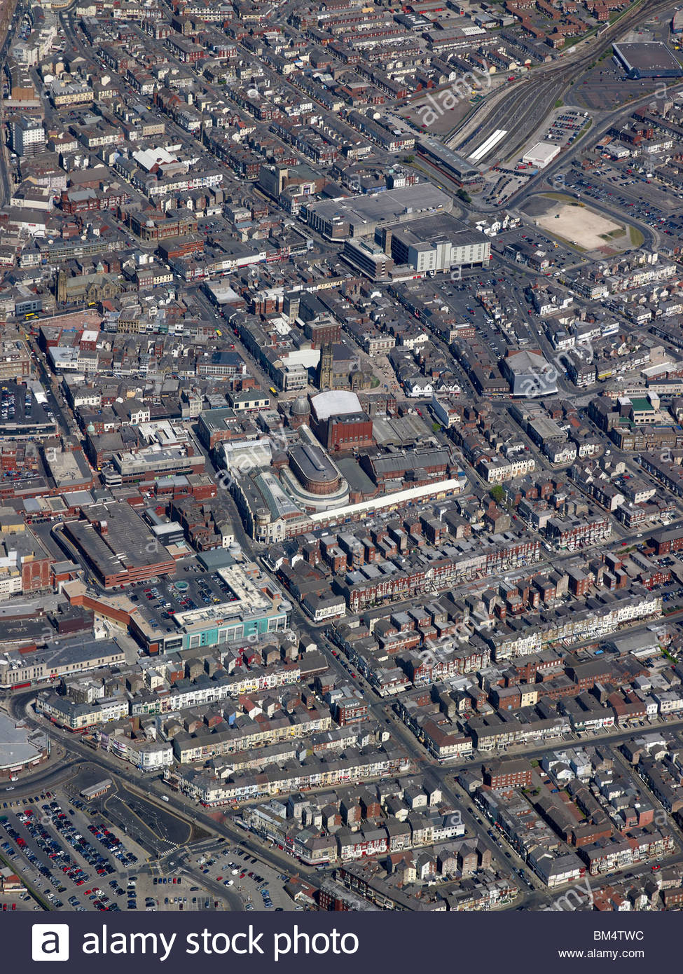 blackpool town centre from the air north west england with the