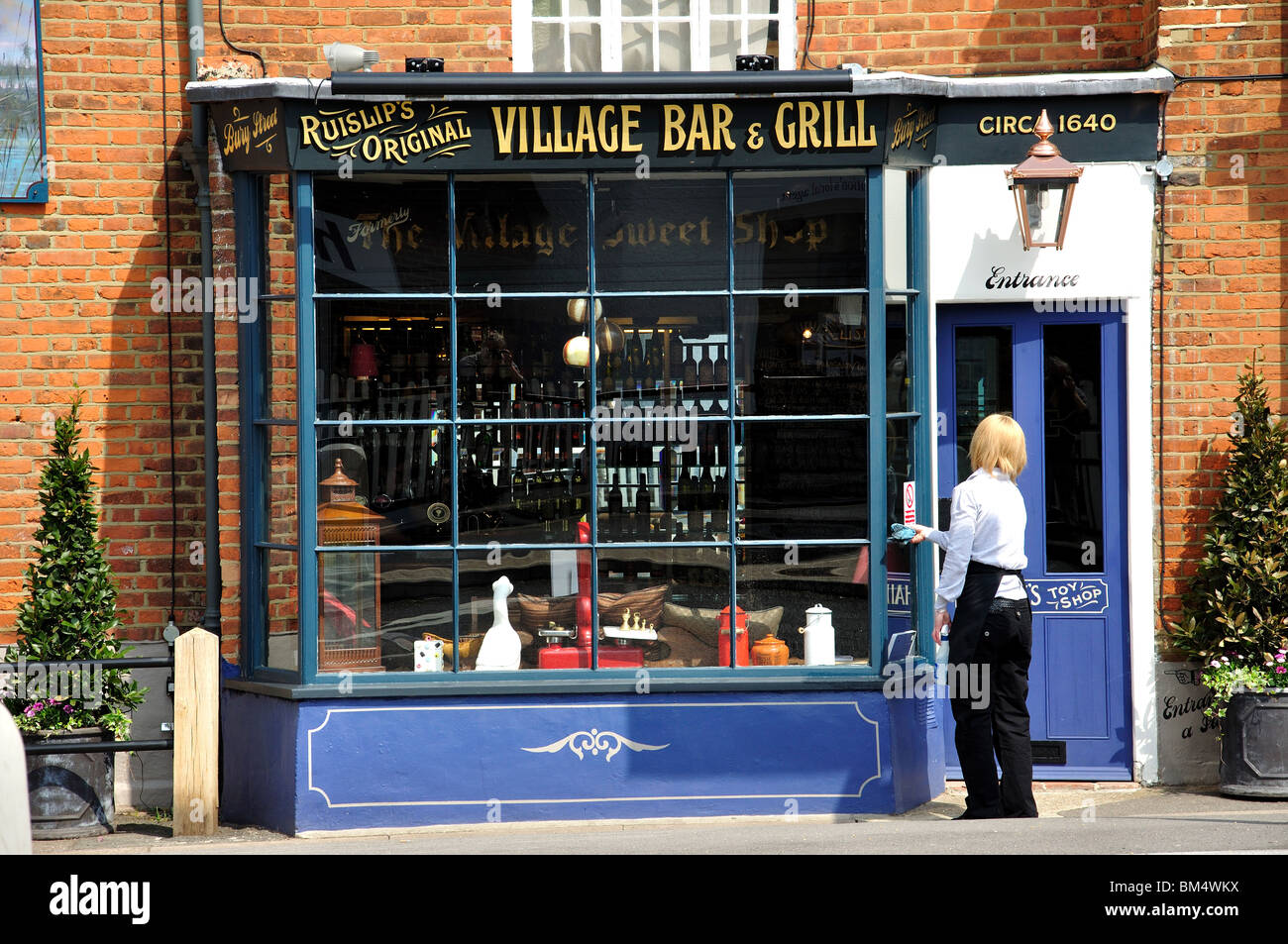 The Village Bar   Grill  High Street  Ruislip  London Borough of Hillingdon. Hillingdon High Street Stock Photos   Hillingdon High Street Stock