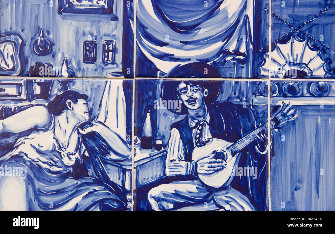 azulejos ceramic tile picture depicting fado entertainers lisbon stock photo royalty free image. Black Bedroom Furniture Sets. Home Design Ideas