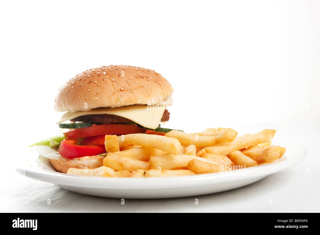 Hamburger with french fries on a dinner plate  sc 1 st  Alamy & Hamburger with french fries on a dinner plate Stock Photo ...