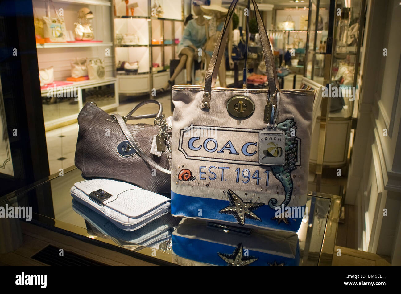 Handbags on display at the Coach store on Bleecker Street ... Coach Store Display