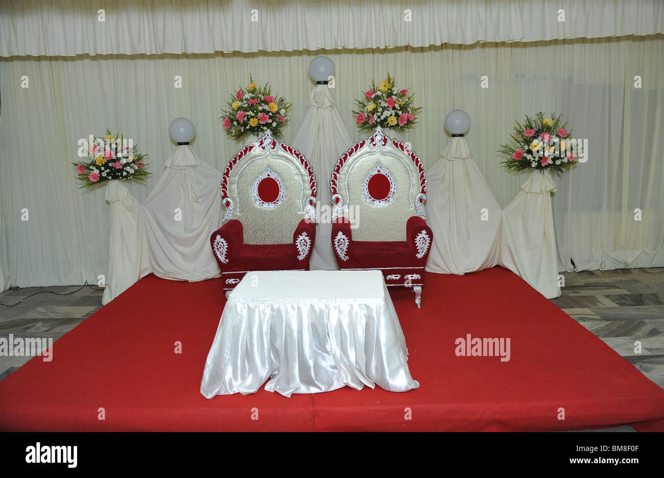 Reception Hall Decorations. marriage reception hall decorations with chairs Stock Photo