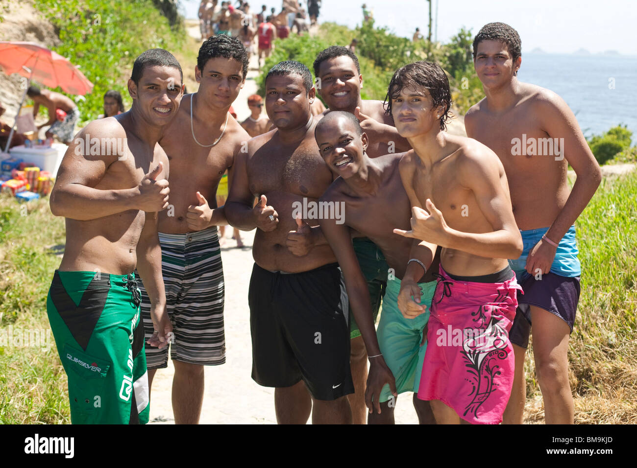 Join. Men on brazilian beaches