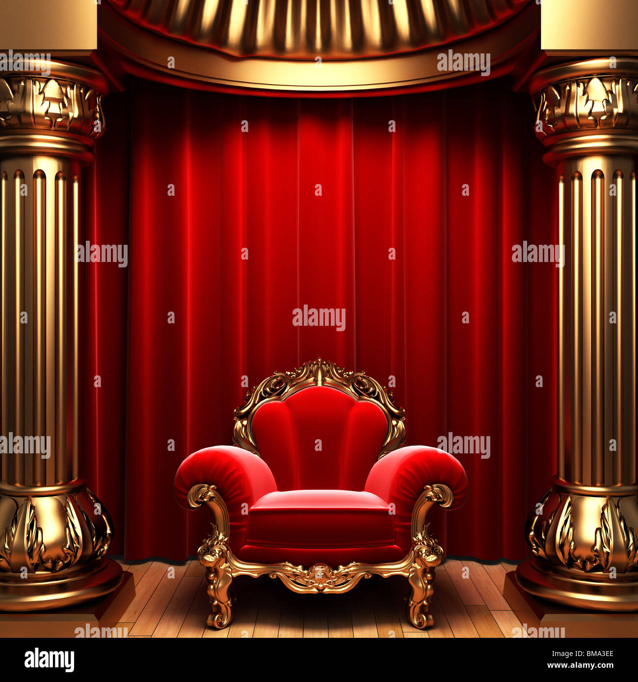 Red velvet curtains gold columns and chair made in 3d for Red and gold drapes