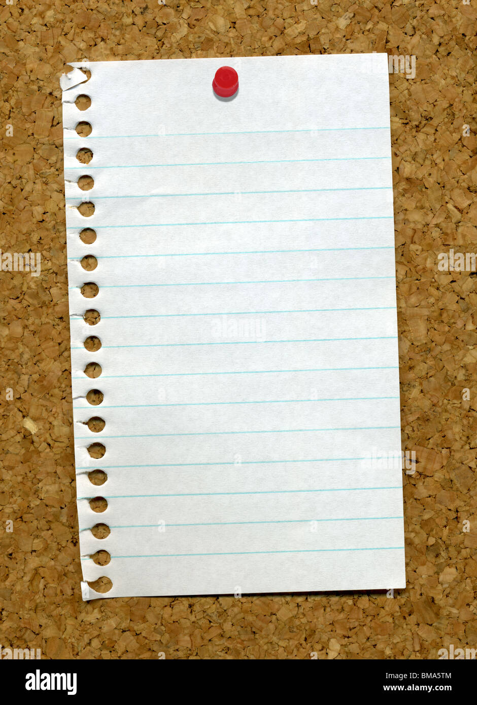 A Small Blank Lined Page From A Notepad Stuck To A Cork – Blank Lined Page