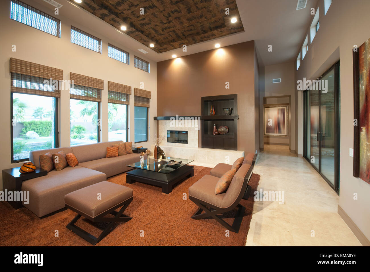 Spacious living room with double height ceiling - Spacious Living Room With Double Height Ceiling Stock Photo