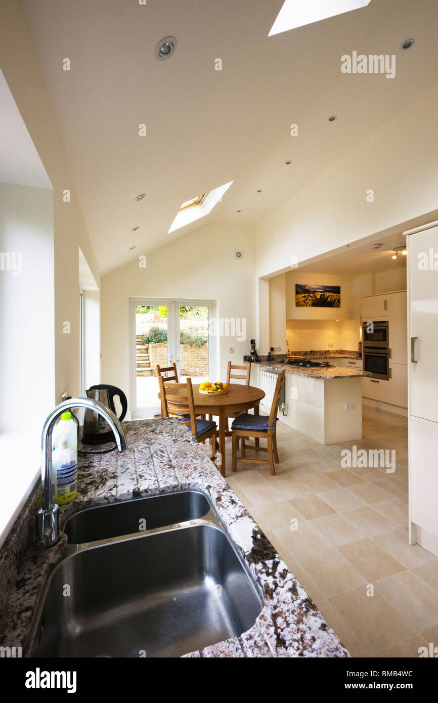 Kitchen With Vaulted Ceilings Wide Angle View Of A New Modern Kitchen Extension With Vaulted